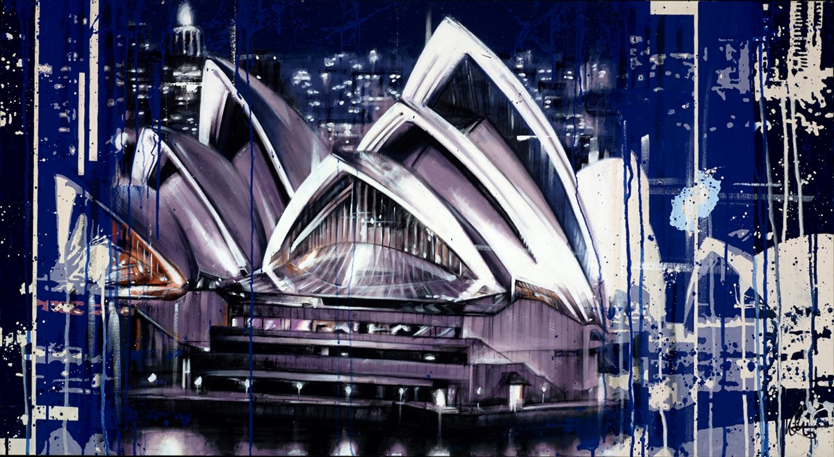 Sydney Opera House at Night by kris hardy -  sized 44x24 inches. Available from Whitewall Galleries